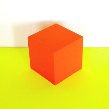 Safety Orange Wooden Cube
