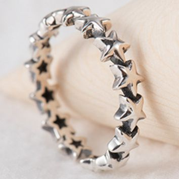 New style silver ring women's style retro do old sterling silver hand jewelry star - shaped rings