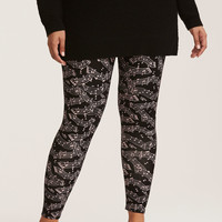 Music Note Print Full Length Leggings