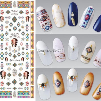 DS263 Design Water Transfer Nails Art Sticker Indian Style Vintage Cool Nail Wraps Sticker Watermark Fingernails Decals
