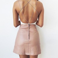 Double Criss-Crossed Back Bodysuit