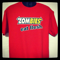 Men's Zombies Subway Eat Flesh Funny and Humorous T-shirt Apocalypse Valentine's Day Gift for Him Walking Dead Fan