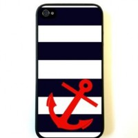 Striped Sailer Red Anchor iPhone 5 Case Fits iPhone 5