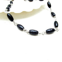 Black Goldstone Sterling Silver Wire Wrapped Necklace Goldstone Bead Choker Necklace