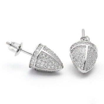 King Ice 925 Silver Bullet Head CZ Earrings