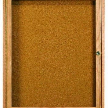 """Enclosed Indoor 36""""x30"""" One Door Natural Red Oak High Gloss Clear Lacquer Finish Cork Bulletin Board"""