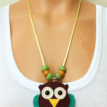 Owl Crochet Necklace Knitted Necklace Beaded Work Necklace Accessories All Season