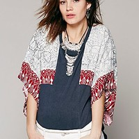 Free People Womens Festival Sleeved Pullover - Black Heather Combo,