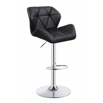 Adjustable Diamond Bar Stool with Chrome Base, Black ,Set of 2