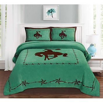 Western Turquoise Barbed Wire Riding Cowboy Horse Star Blanket Borrego Fleece - 3 Piece Set