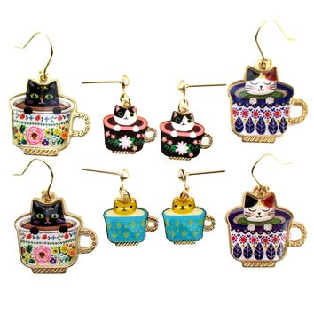 Adorable Teacup Kitty Cats in a Cup Catpuccino Dangle Drop Stud Earrings