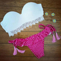 Retro Lace Dots Swimsuit swimwear Set Gift 77