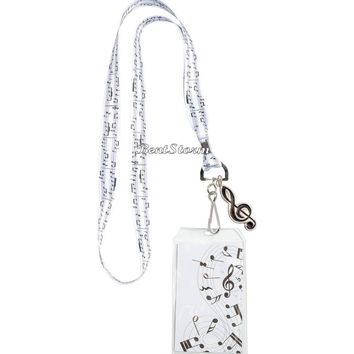Licensed cool Music Notes Black and White Lanyard Neckstrap Id card Holder w/Metal Clef Charm