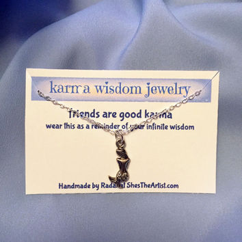 Karma Wisdom Necklace Silver Karma Wisdom Jewelry With Quote -friends are good karma- 925 Silver Necklace Mermaid Personalized Gifts