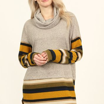 Turtle Neck Long Sleeve Casual Top