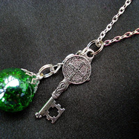 Medieval Key Green Crackle Glass Dangle Marble Necklace