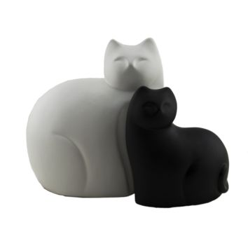Ceramic Contrast Cat Kitty Statue