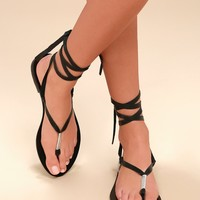 Positano Black Leather Lace-Up Flat Sandals