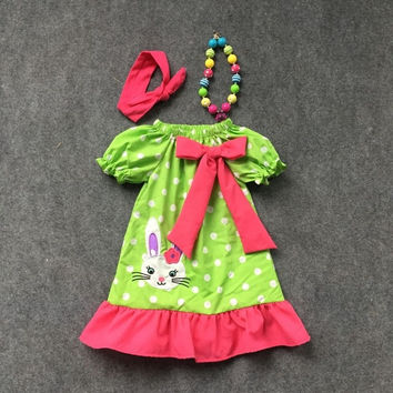 Preorder-Green Polka Dot Easter Dress with Embroidered Bunny