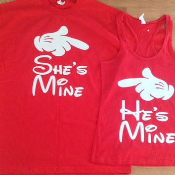 Free/Fast Shipping For He's Mine/She's Mine matching couples shirts