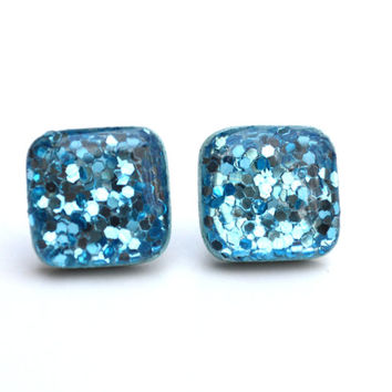 Aquamarine glitter square studs boxed glitter stud earrings wood earrings Kate spade blue glitter earrings eco friendly unique gift for her