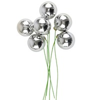 "Shiny Bulb Christmas Ornaments in Silver - 9"" Tall - 6 per Bunch - Each 1.5"" Diameter"