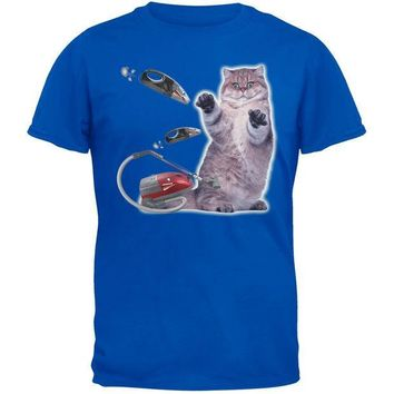 CREYCY8 Galaxy Cat Vacuum Royal Blue Adult T-Shirt