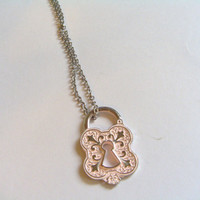 Pink Victorian Lock Necklace