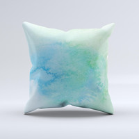 Subtle Green & Blue Watercolor Ink-Fuzed Decorative Throw Pillow
