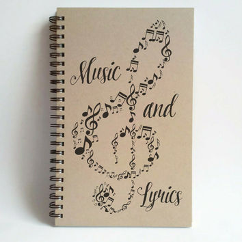 Music and lyrics, music notes 5X8 Journal, spiral notebook, diary, troubleclef, brown kraft notebook, journal handmade, gift, song writers