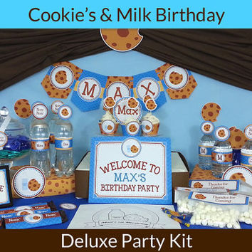 Cookie Monster Party Decoration / Cookies and Milk Party Decorations / Deluxe Party Kit