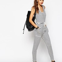 Daisy Street Easy Tie Waist Jumpsuit In Stripe