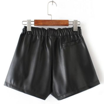 elastic waist loose Leather shorts B0016430