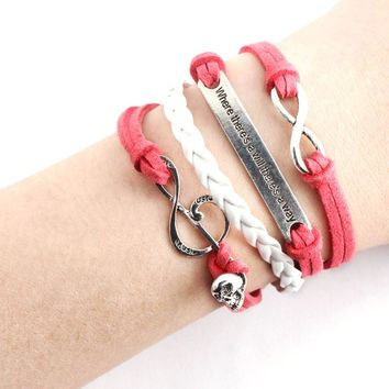 Handmade Skull Music Rope Multilayer Red Weave Jewelry Bracelet Gifts for Gril Friend Leather Cute Charm Bracelet