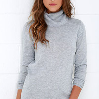Comin' Up Cozy Grey Turtleneck Sweater