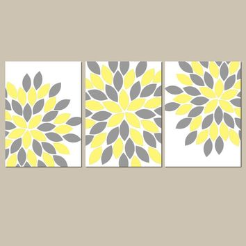 YELLOW GRAY Wall Art, Flower Nursery Decor, Floral Bedroom Pictures, Flower Bathroom Decor, Flower Petal Art, CANVAS or Print, Set of 3