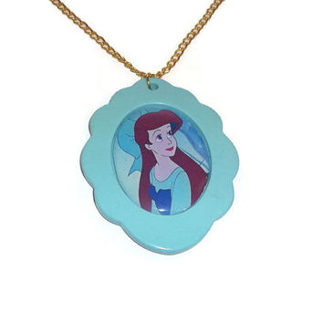 Ariel Cameo Necklace, The Little Mermaid, Large Mint Green Cameo, Cute Disney Jewelry