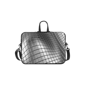Personalized Laptop Shoulder Bag 3D Silver Chrome Cubes Handbags 11 Inch