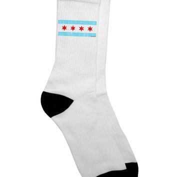 Distressed Chicago Flag Design Adult Crew Socks by TooLoud