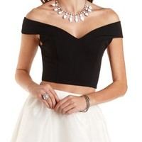 Off-the-Shoulder Crop Top by Charlotte Russe - Black