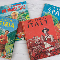 Set of 4 Vintage 1950s Children's Geography Schoolbooks Collection | Hardcover Books | Life in Europe | The Fideler Company