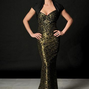11ab97330c9 Daymor Couture - Gilded Applique Evening Gown and Bolero Jacket