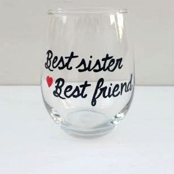 Best Sister hand painted stemless wine glass