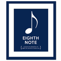 Eighth Note - Colourful Art Print - Musical Notation Typography Poster - Gift for Musician Music Teacher - 8 x 10 Wall Art Decor