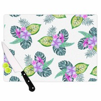 "Sylvia Cook ""Tropical Flowers"" Green Pink Floral Nature Watercolor Digital Cutting Board"