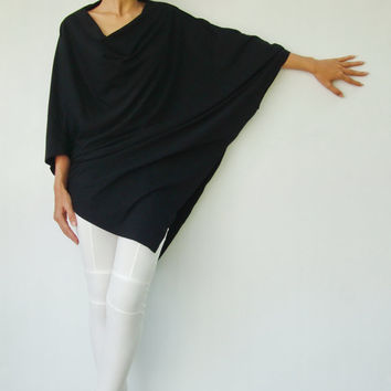NO.63  Black Cotton Jersey  Asymmetrical Tunic Top