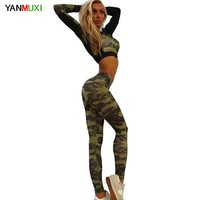2017 Camouflage Tracksuit Women Casual 2 Piece Set Long Sleeve Crop Top and Elastic Waist Pants Fitness Workout Women's Sets