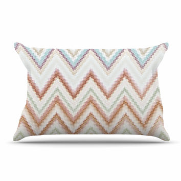 "Nika Martinez ""Seventies Chevron"" Beige Pattern Pillow Case"