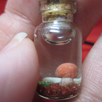 Handmade Mushroom Terrarium Glass Bottle Charm--Free Necklace Cord or Chain Attached with Purchase