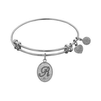 Non-Antique White Stipple Finish Brass Initial R  Angelica Bangle, 7.25 Inches Adjustable